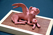 Dog Sculptures - Angel dog by Yelena Rubin