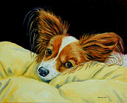 Papillon Dog Paintings - Angel Face - Papillon by Lyn Cook