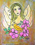 Angel Art Paintings - Angel-face by Renate Dartois