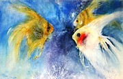 Oriental Style Paintings - Angel fish by Marcia Lardizabal