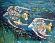 Angelfish Paintings - Angel Fish by Tonya Rosa Stephens