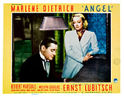 Lobbycard Prints - Angel, From Left Marlene Dietrich Print by Everett
