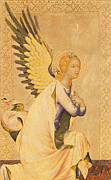 Knelt Painting Framed Prints - Angel Gabriel  Framed Print by Simone Martini
