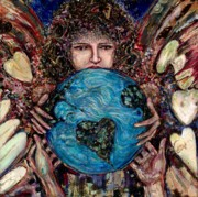 Giving Painting Originals - Angel giving world by Robert Sutherland