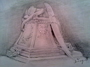 Angel Drawings - Angel Grief by Milan Garcevic