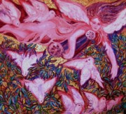 Impressionistic  On Canvas Paintings - Angel Guarding the Seven Virtues - ART DECO by Gunter  Hortz