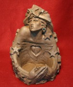 Surrealism Sculptures - Angel Heart by Larkin Chollar