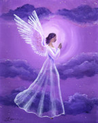 Religious Art Painting Originals - Angel in Amethyst Moonlight by Laura Iverson