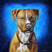 Staffordshire Bull Terrier Paintings - Angel in Blue American Staffordshire Terrier by Michelle Wrighton