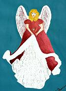 Gown Painting Originals - Angel in Red by Cathy Jourdan
