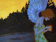 Angel Art Paintings - Angel in the Night by Stefan Kuhn