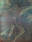 Angel Mermaids Ocean  Painting Metal Prints - Angel in Wind Metal Print by Joyce Auteri