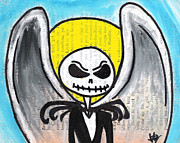 Xmas Drawings Framed Prints - Angel Jack Skellington Framed Print by Jera Sky