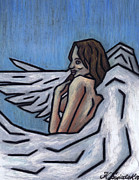 Angels Pastels Prints - Angel Print by Kamil Swiatek