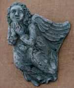 Religious Ceramics Metal Prints - Angel Metal Print by Katia Weyher