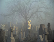 Fog Mist Digital Art Posters - Angel Mist Cemetery Poster by Gothicolors And Crows