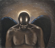 Black Art Pastels Prints - Angel Noir Print by L Cooper