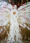 White Mixed Media Framed Prints - Angel of divine Healing Framed Print by Alma Yamazaki