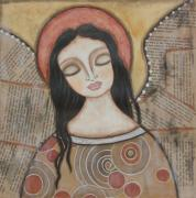 Folk Art Paintings - Angel of Dreams by Rain Ririn