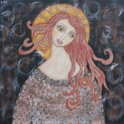 Devotional Art Painting Posters - Angel of Grace Poster by Rain Ririn