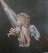 Angelic Drawings - Angel of Hope by Concept by Rev Kathleen L Dixon Artist Greg Crumbly