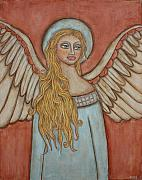Acrylic Pastels Framed Prints - Angel of Liberation Framed Print by Rain Ririn