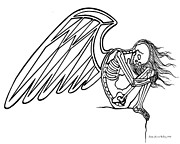 Depressed Drawings Prints - Angel of Loss Print by Lisa Anne Riley