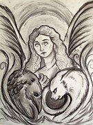 Charcoals Drawings Framed Prints - Angel of Mercy Framed Print by Carrie Ann Benson