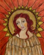 Christian Art . Devotional Art Painting Prints - Angel of Nature Print by Rain Ririn