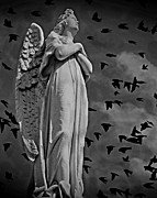 Grey Clouds Mixed Media Posters - Angel of Stone BW Poster by David Dehner