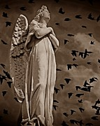 Grey Clouds Mixed Media Posters - Angel of Stone S Poster by David Dehner
