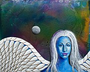 Galaxies Painting Metal Prints - Angel of the Shepherd Moon Metal Print by Lee Pantas
