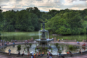 Fountain Scene Framed Prints - Angel of the Waters Fountain  Bethesda Framed Print by Lee Dos Santos