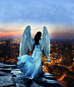 Angelic Posters - Angel on Rocky Ledge Above City at Night Poster by Jill Battaglia