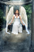 Christian Mythology Prints - Angel On Stone Bench Looking up into the Light Print by Jill Battaglia