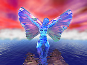 Adorable Digital Art Prints - Angel on the Water Print by Ricky Schneider