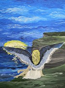 Night Angel Paintings - Angel OnA Cliff by Joan Van Houten