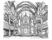Center Drawings Framed Prints - Angel Orensanz center in NYC Framed Print by Lee-Ann Adendorff