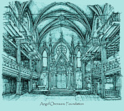 Synagogue Drawings - Angel Orensanz in blue by Lee-Ann Adendorff
