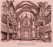 Synagogue Drawings - Angel Orensanz in dark pink by Lee-Ann Adendorff