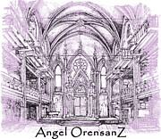 Synagogue Drawings - Angel Orensanz in lilac  by Building  Art