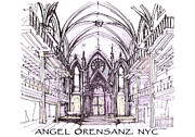 Synagogue Drawings - Angel Orensanz ink  by Building  Art