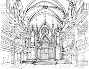 Wedding Venue Drawings Prints - Angel Orensanz sketch 2 Print by Lee-Ann Adendorff