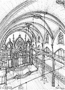 Wedding Venue Drawings Prints - Angel Orensanz sketch 3 Print by Lee-Ann Adendorff