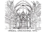 Synagogue Drawings - Angel Orensanz sketch with title by Building  Art