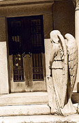 Angel Art Framed Prints - Angel Outside Cemetery Mausoleum Door Framed Print by Kathy Fornal