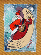 Angel Modern Art Posters - Angel playing for us No2 Poster by Elisabeta Hermann
