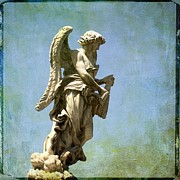 Sculpture Photos - Angel. Ponte SantAngelo. Rome by Bernard Jaubert