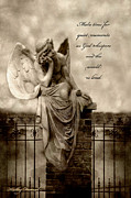 Inspirational Angel Art Prints - Angel Resting On Fence Inspirational Angel Art Print by Kathy Fornal