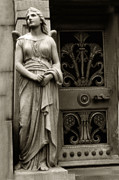 Angel Art Photography Posters - Angel Statue Standing At Mausoleum Door  Poster by Kathy Fornal